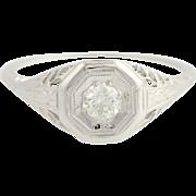 Art Deco Diamond Ring - 18k White Gold European Cut Vintage .25ct