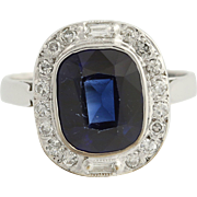 Vintage Synthetic Sapphire & Diamond Ring - 14k White Gold Halo 3.73ctw
