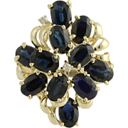 Sapphire Cocktail Ring 14k Yellow Gold Chunky Statement Diamonds Accents 6.63ctw