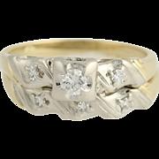 Vintage Diamond Engagement Ring & Wedding Band - 14k Yellow & White Gold .25ctw