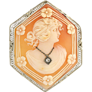 Art Deco Carved Shell Cameo Brooch - 14k White Gold Diamond Genuine .05ctw