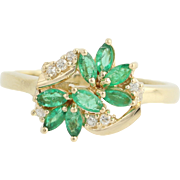Emerald & Diamond Ring - 14k Yellow Gold May Birthstone .57ctw
