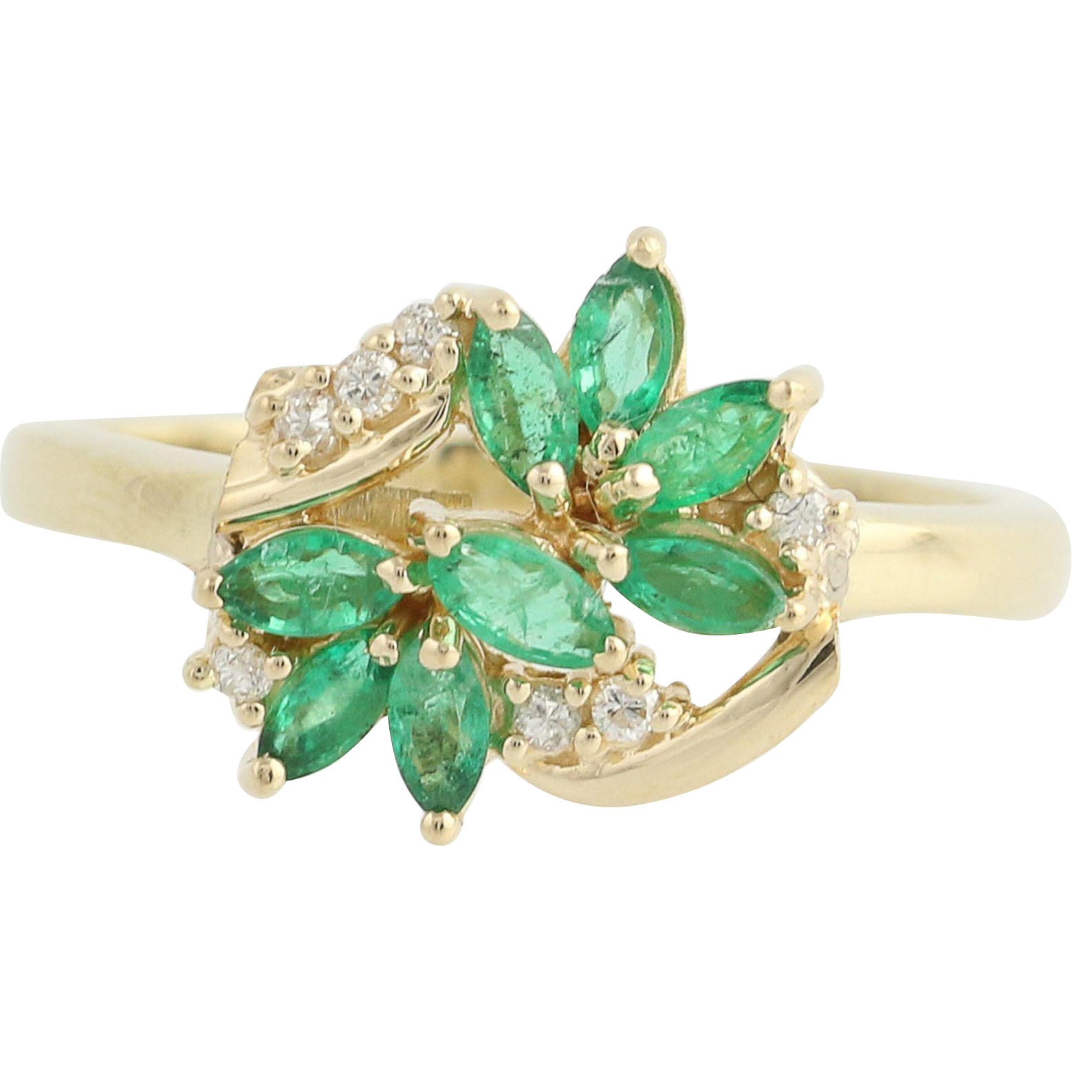 Emerald & Diamond Ring - 14k Yellow Gold May Birthstone .57ctw