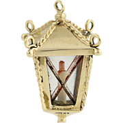 Lantern Charm - 14k Yellow Gold Glass Vintage Candle Inside Pendant
