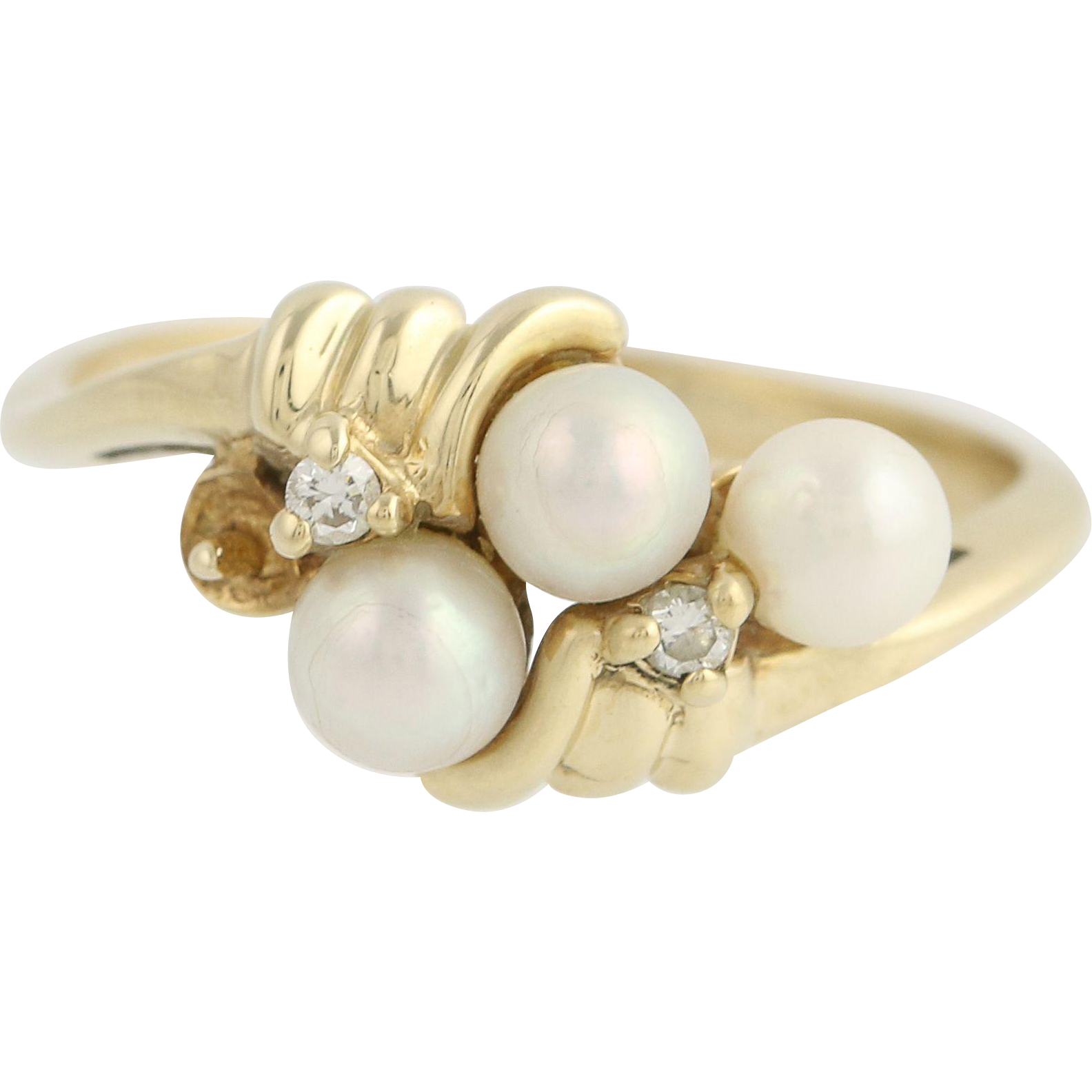 Cultured Pearl & Diamond Cluster Ring - 14k Yellow Gold Bypass Band Women's