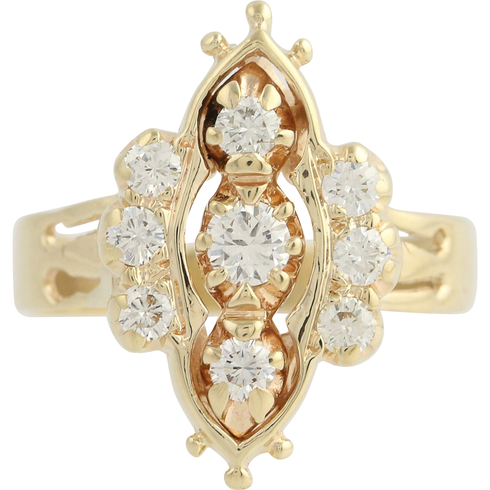 Diamond Ring - 14k Yellow Gold Victorian Revival Style Womens .57ctw
