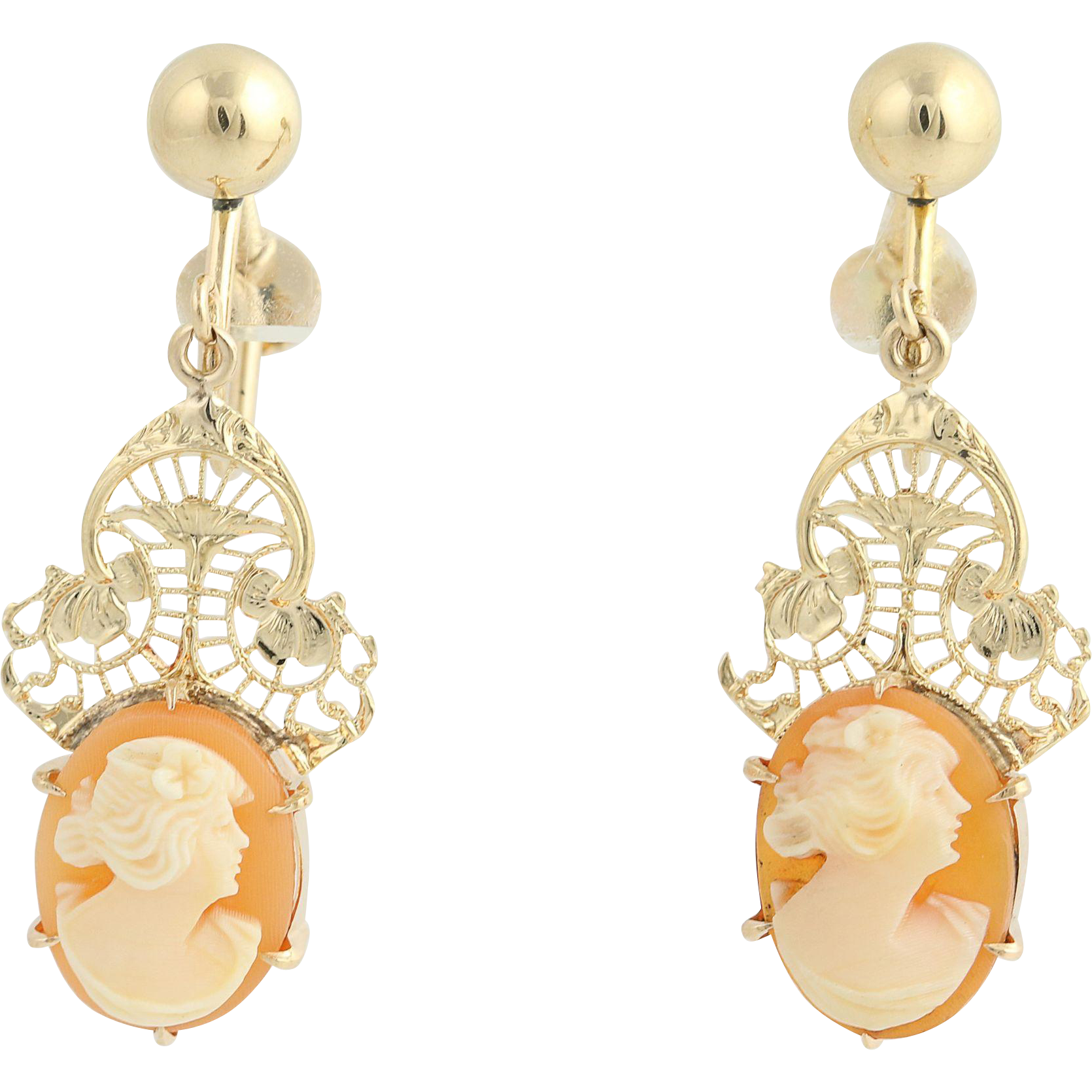 Vintage Carved Shell Cameo Drop Earrings - 14k Yellow Gold Non-Pierced
