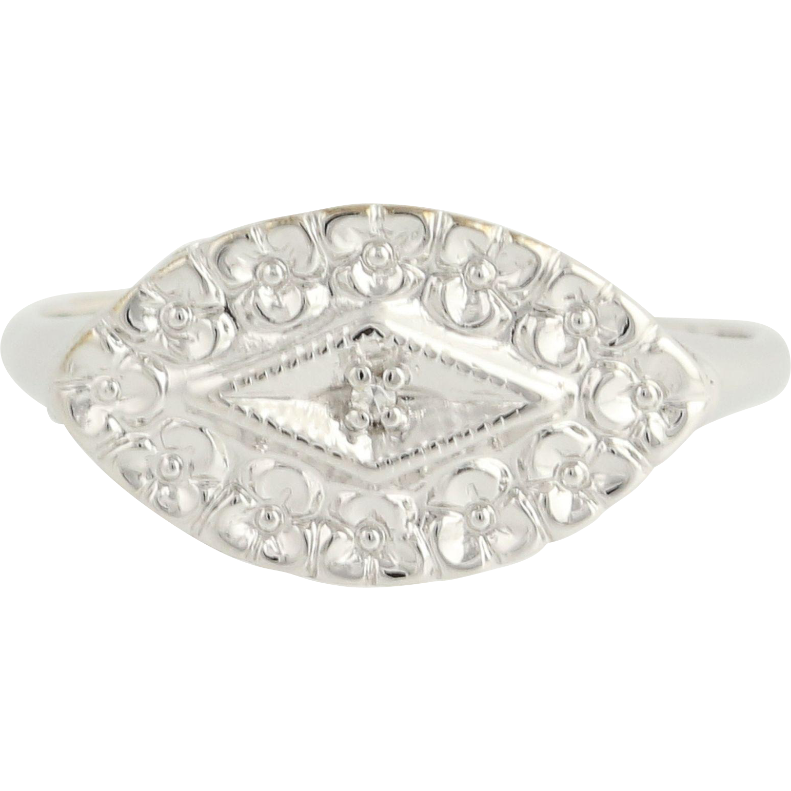 Vintage Diamond-Accented Ring - 10k White Gold Size 7