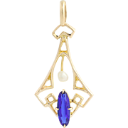 Art Deco Blue Glass & Seed Pearl Lavalier Pendant - 10k Yellow Gold Vintage