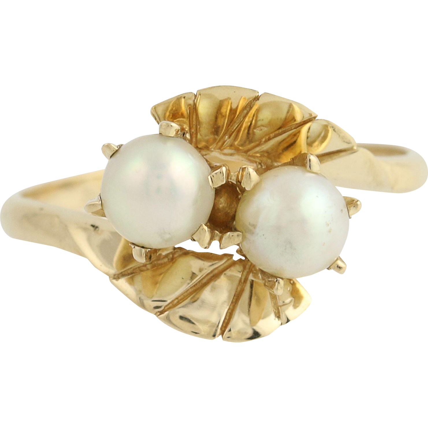 Cultured Pearl Bypass Ring - 14k Yellow Gold 5.2mm June Gift