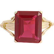 Vintage Synthetic Ruby Ring - 18k Yellow Gold July Birthstone Solitaire 6.25ct