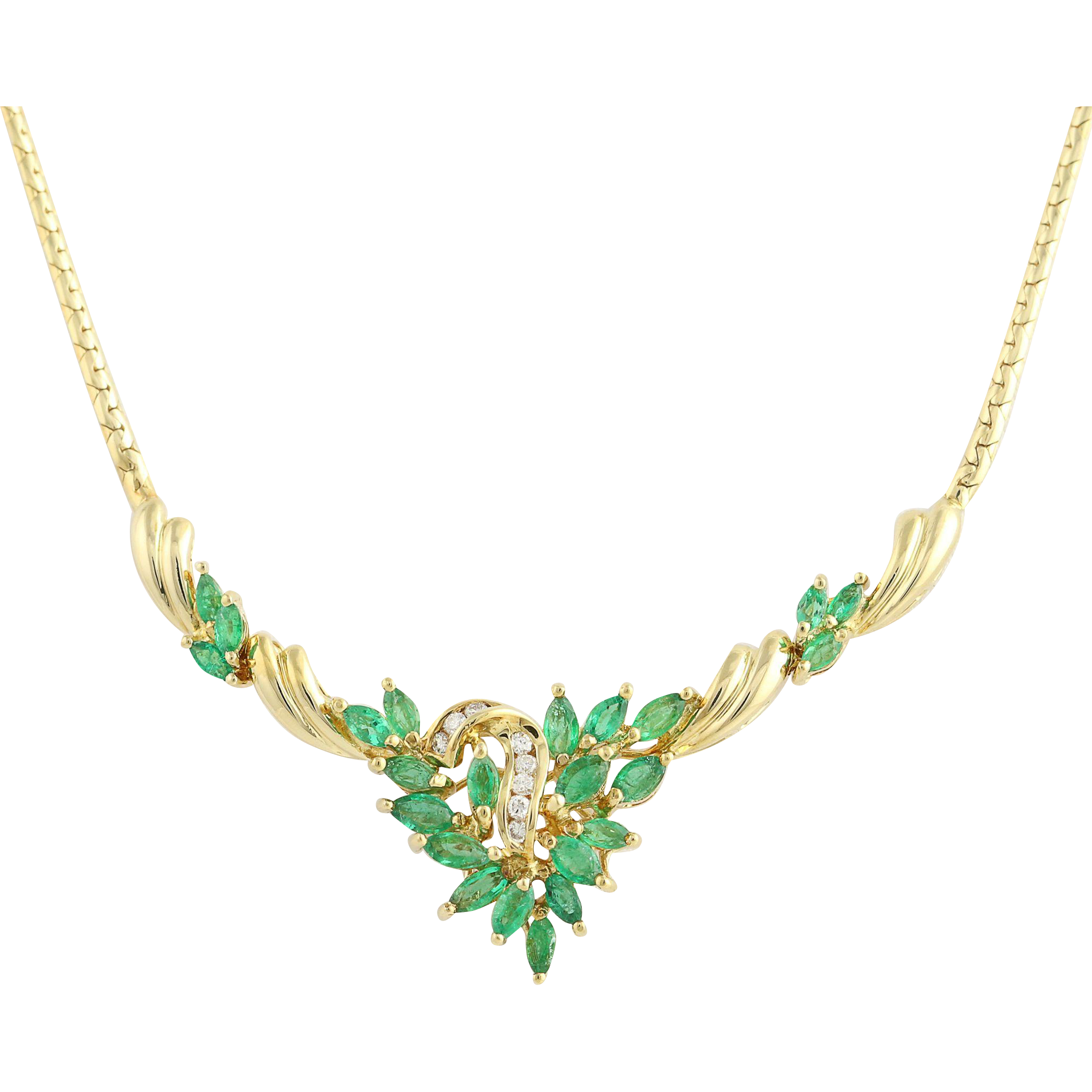 "Emerald & Diamond Necklace 14 1/4"" - 18k Yellow Gold April May 3.24ctw"