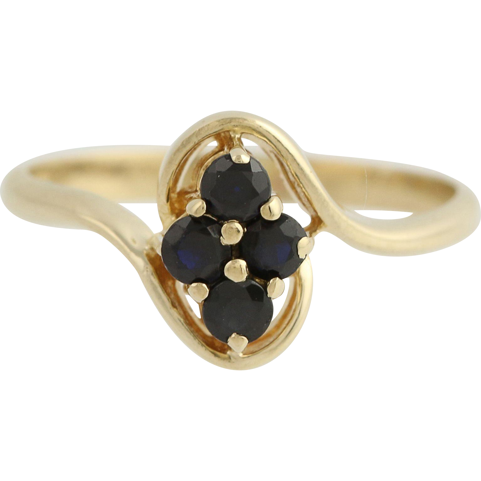 Sapphire Bypass Ring - 10k Yellow Gold September Birthstone .32ctw
