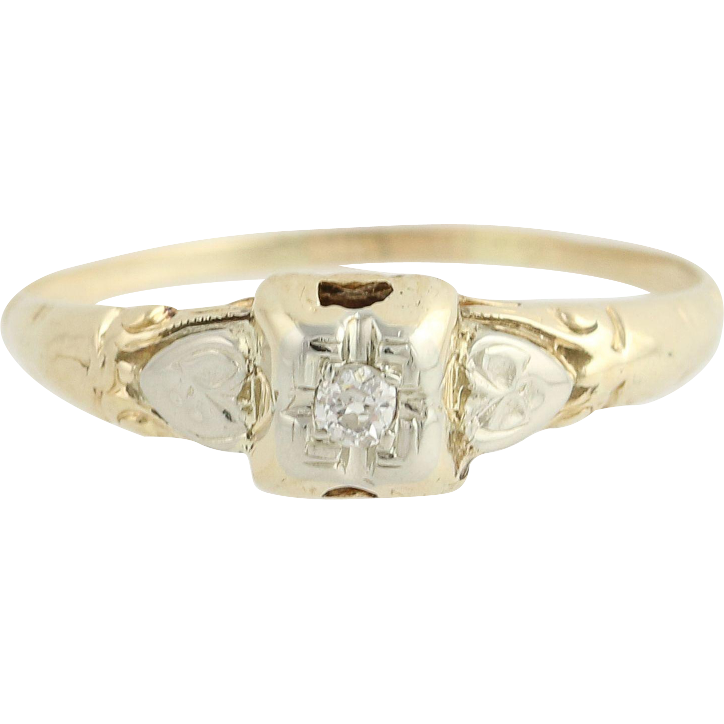 Art Deco Diamond Ring - 14k Yellow & White Gold Mine Cut Solitaire Vintage .05ct