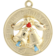 Vintage Christmas Charm - 14k Yellow Gold Bells Simulated Turquoise & Coral