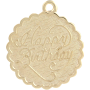 Vintage Happy Birthday Charm - 14k Yellow Gold Keepsake