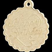 Vintage Happy Birthday Charm - 14k Yellow Gold Keepsake