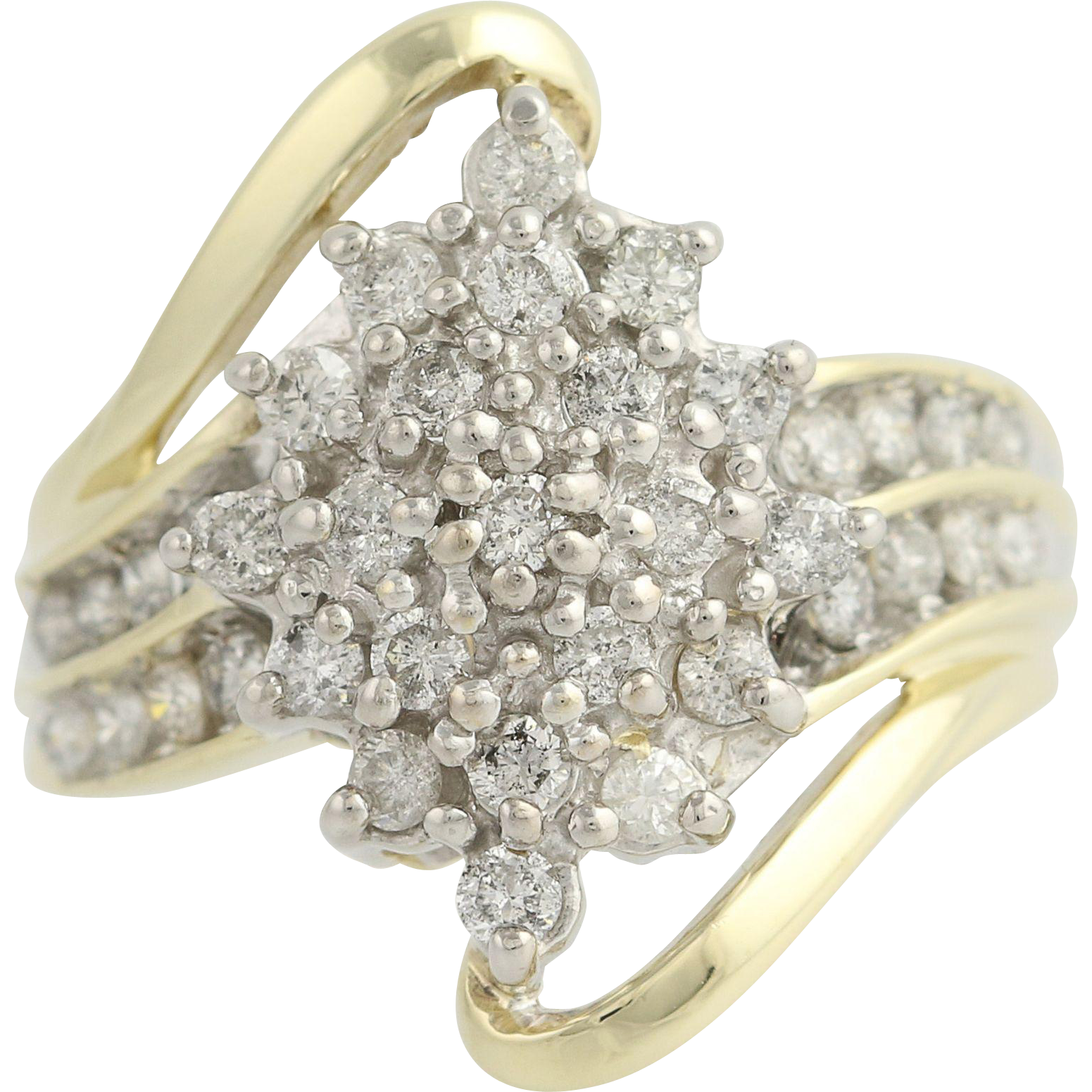 Diamond Cluster Cocktail Ring - 10k Yellow & White Gold Bypass 1.00ctw
