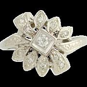 Retro Diamond Flower Style Ring - 14k White Gold 1940s-50s Women's 0.16ctw
