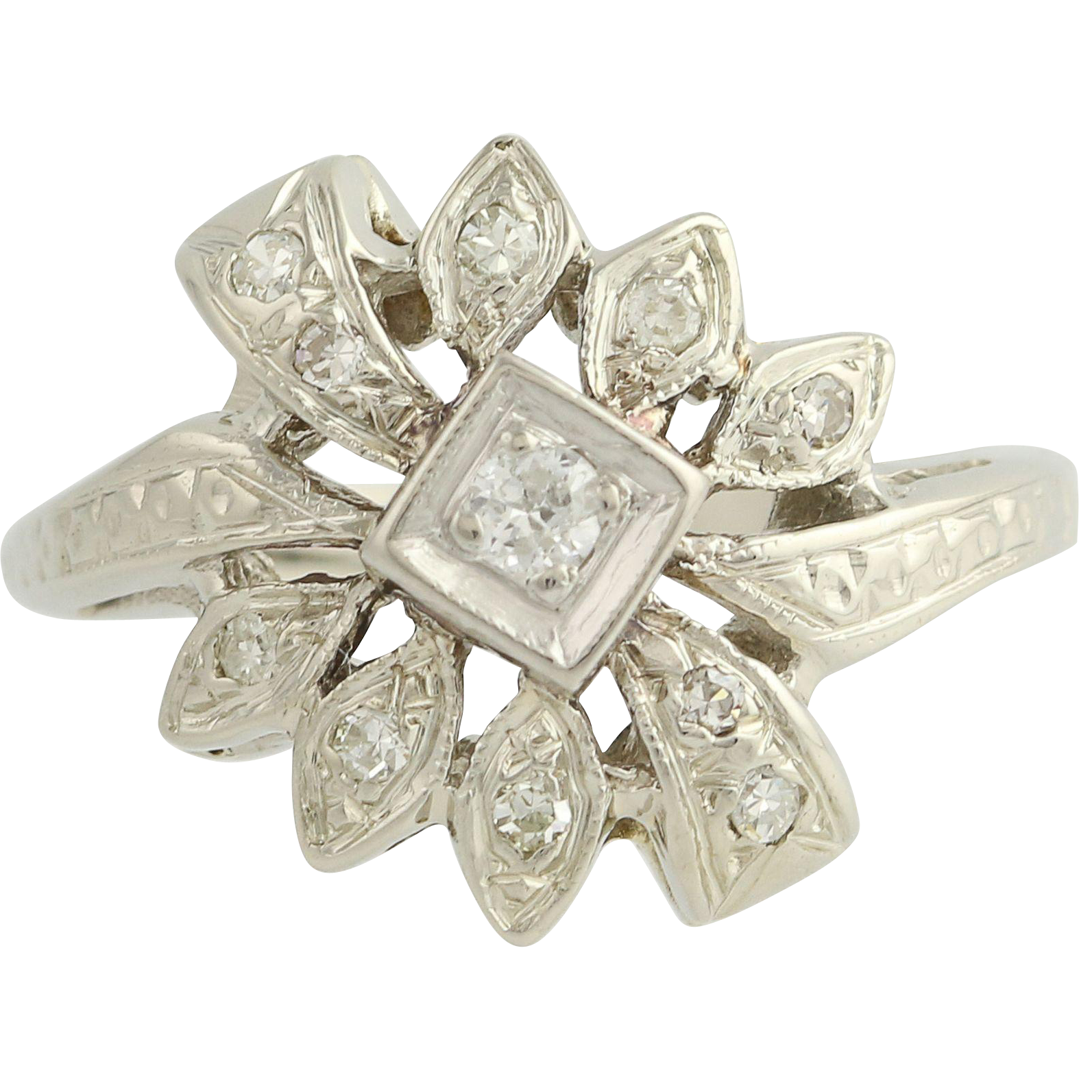Retro Diamond Flower Style Ring - 14k White Gold 1940s-50s Women's 0.16ctw