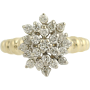 Diamond Cluster Cocktail Ring - 14k Yellow White Gold 2-Toned Women's 0.75ctw