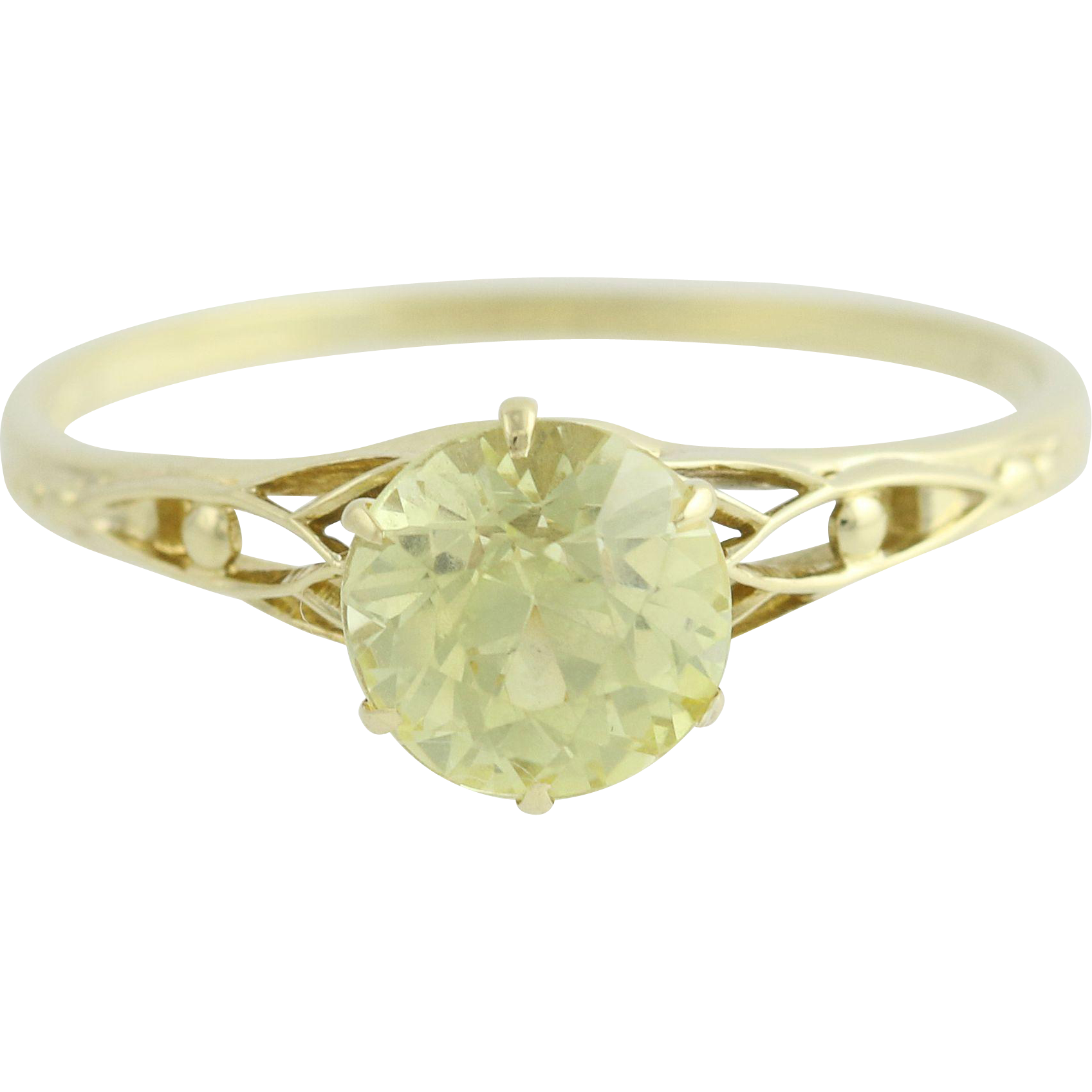 Art Deco Yellow Chrysoberyl Ring - 14k Yellow Gold Vintage 1.88ct