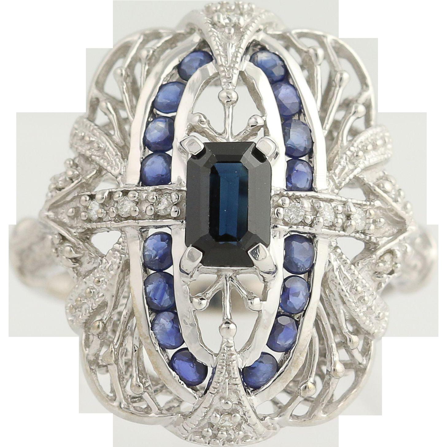 Sapphire & Diamond Ring - 14k White Gold September Birthstone 1.61ctw