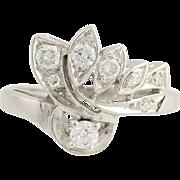 Retro Diamond Bypass Ring - 14k White Gold Milgrain Women's Vintage .50ctw