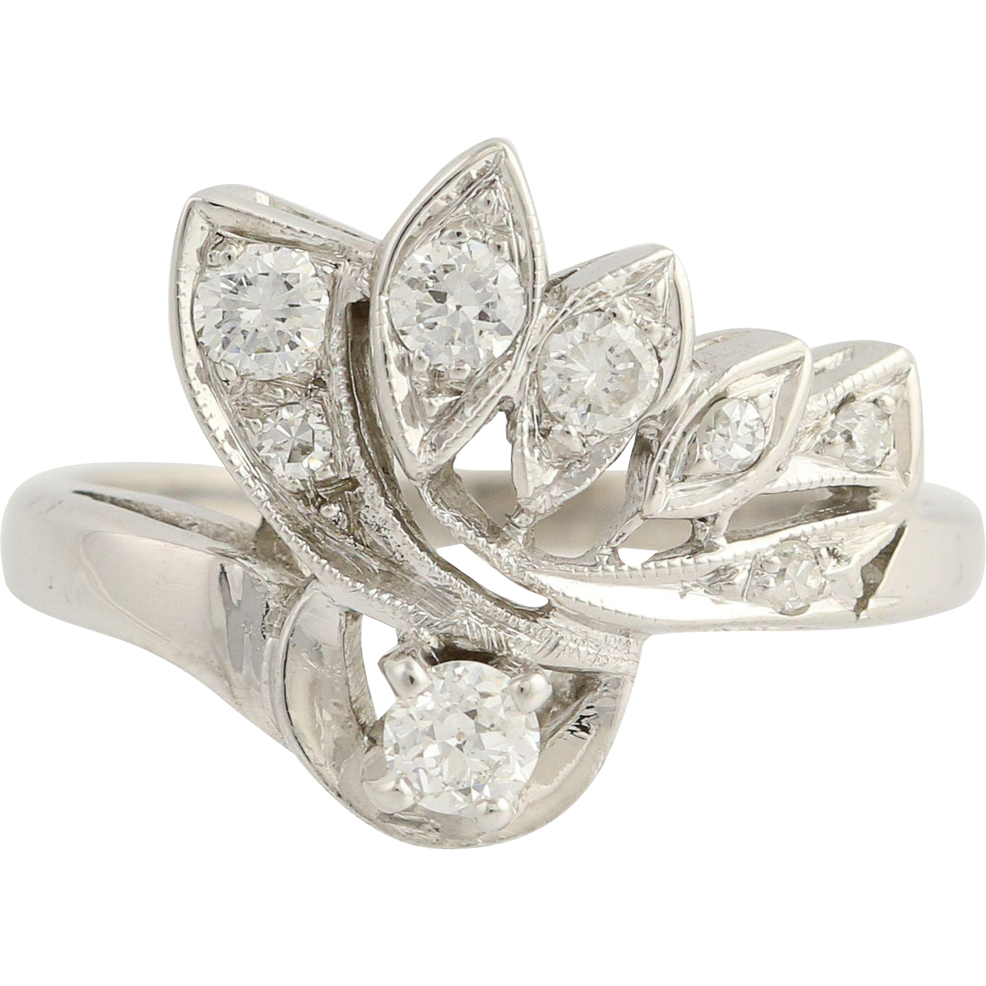 Retro Diamond Bypass Ring - 14k White Gold Milgrain Women's Vintage .50ctw