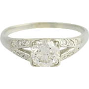 Art Deco Diamond Engagement Ring 18k White Gold Vintage Wedding Jewelry 0.85ctw