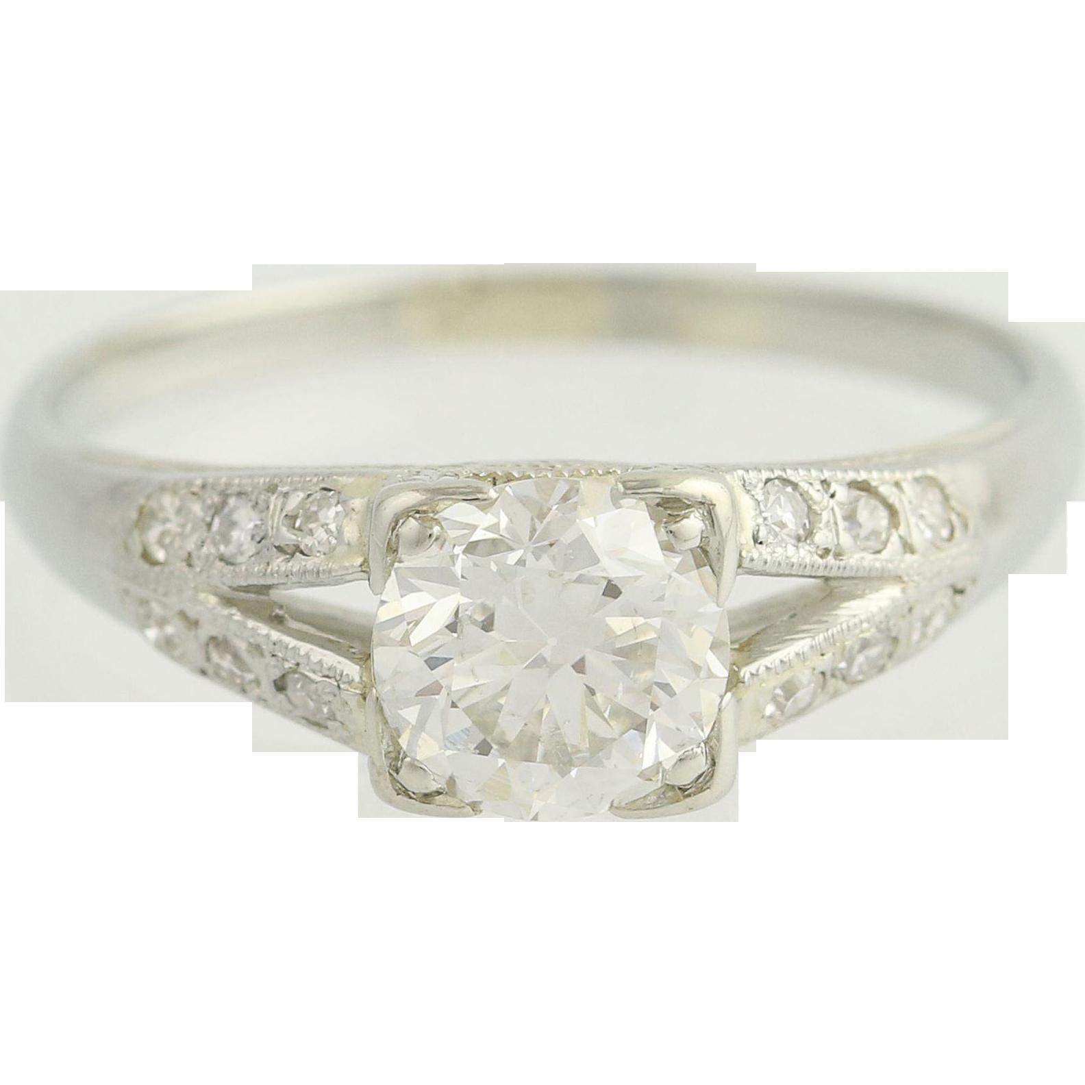 Art Deco Diamond Engagement Ring 18k White Gold Vintage Wedding Jewelry 0.85ctw