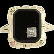 Vintage Onyx & Diamond Ring - 10k Yellow, White, & Rose Gold Rose Cut .02ct