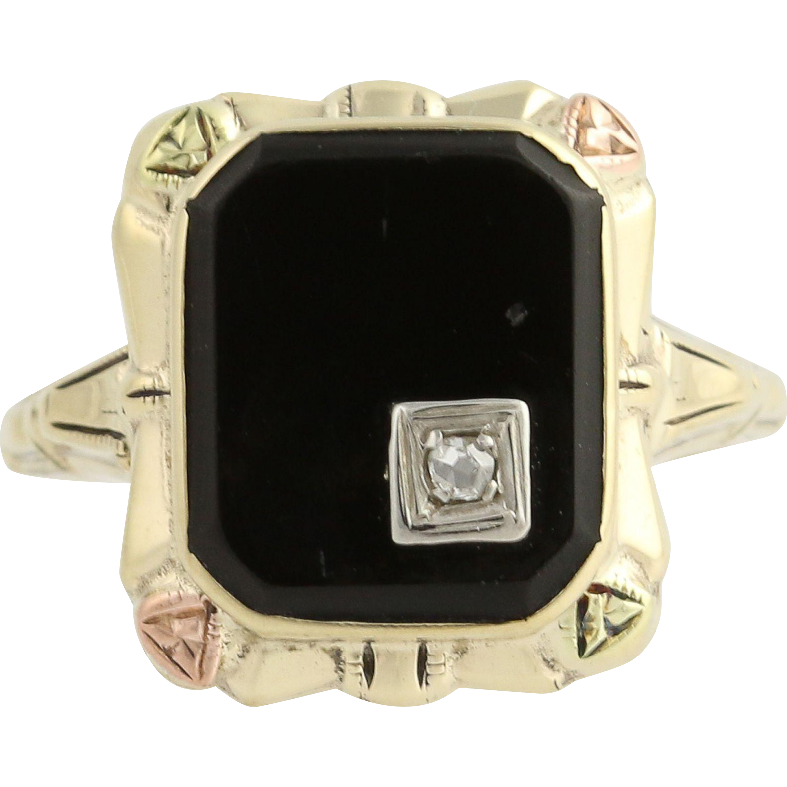 Vintage Onyx & Diamond Ring - 10k Yellow, White, & Rose Gold Rose Cut .02ct