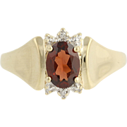 Garnet Ring - 10k Yellow & White Gold Diamond Accents January Birthstone 1.00ct