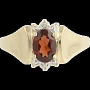 Garnet Ring - 10k Yellow & White Gold Diamond Accents January Birthstone 1.00ct