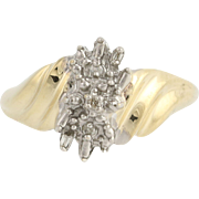 Diamond Bypass Ring - 10k Yellow & White Gold April Birthstone .03ctw