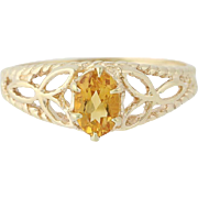 Citrine Solitaire Ring - 10k Yellow Gold Size 6 1/4 Women's .51ct