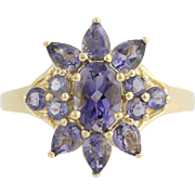 Diamond Heart Ring - 10k Yellow White Gold Vintage 3-Hearts Women's