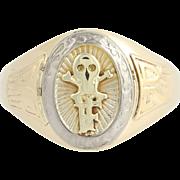 Skull Ring - 10k Yellow & White Gold Medical Society Class 1928 Men's