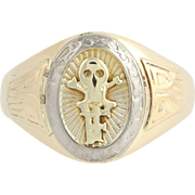 Skull Ring - 10k Yellow & White Gold Medical Society Class 1928 Men's
