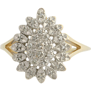 Diamond Cluster Cocktail Ring - 10k Yellow & White Gold Tiered Women's .06ctw