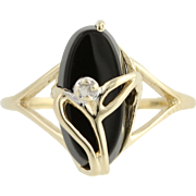 Floral Onyx Ring - 10k Yellow Gold Diamond Accent Oval Black Stone Small Size