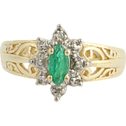 Emerald & Diamond Ring - 10k Yellow & White Gold May Birthstone .29ctw