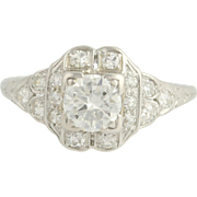 Art Deco Diamond Ring - 900 Platinum European Cut Women's Vintage 1.07ctw
