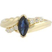 Sapphire & Diamond Bypass Ring - 14k Yellow Gold September Birthstone .89ctw