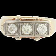 Art Deco Diamond Ring - 14k Yellow White Gold Vintage Wedding Band 3-Stone 1ctw