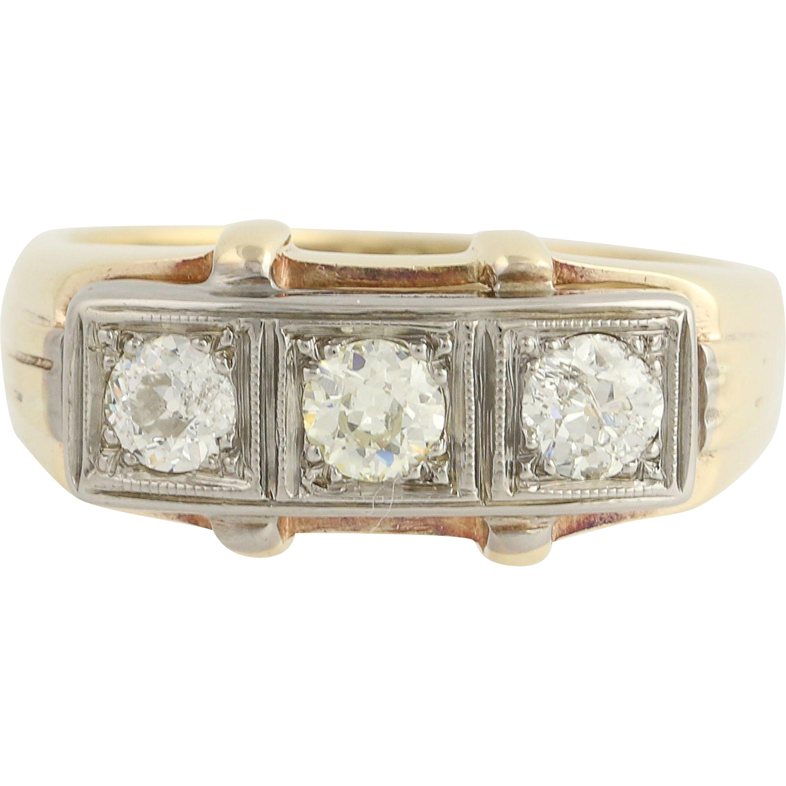 Art Deco Diamond Ring - 14k Yellow White Gold Vintage Wedding Band 3-Stone 1ctw