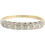 Vintage 2-Toned Diamond Wedding Band - 14k Yellow White Gold Ring 0.14ctw