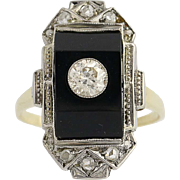 Art Deco Diamond Onyx Ring 14k White Yellow Gold Euro & Rose Cut Vintage 0.52ctw