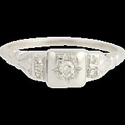 Art Deco Diamond Ring - 18k White Gold Vintage Engagement Women's Euro Cut 0.09